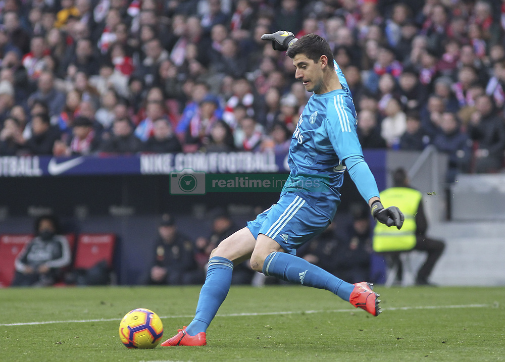 February 9, 2019 - Madrid, Madrid, Spain - Courtois of Real Madrid in action during La Liga Spanish championship, , football match between Atletico de Madrid and Real Madrid, February 09th, in Wanda Metropolitano Stadium in Madrid, Spain. (Credit Image: © AFP7 via ZUMA Wire)