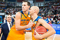 Herbalife Gran Canaria's players Darko Planinic and Albert Oliver during the final of Supercopa of Liga Endesa Madrid. September 24, Spain. 2016. (ALTERPHOTOS/BorjaB.Hojas)