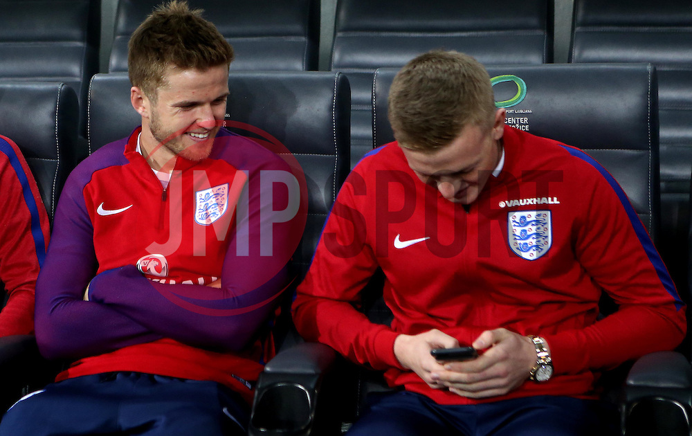 Eric Dier and Jordan Pickford of England share a joke on arrival at The SRC Stozice Stadium ahead of the World Cup Qualifier against Slovenia - Mandatory by-line: Robbie Stephenson/JMP - 10/10/2016 - FOOTBALL - SRC Stozice - Ljubljana, England - England Press Conference