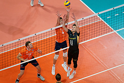 21-09-2019 NED: EC Volleyball 2019 Netherlands - Germany, Apeldoorn<br /> 1/8 final EC Volleyball / Lukas Immanuel Kampa #11 of Germany, Thijs Ter Horst #4 of Netherlands