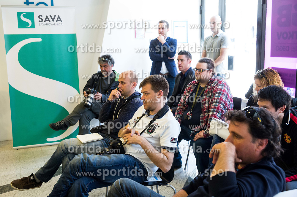 Journalists during press conference of Slovenian National Men Tennis Team before Davis Cup against South Africa Republic, on March 30, 2017 in Ljubljana, Slovenia. Photo by Vid Ponikvar / Sportida