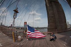 Flag Photo Shoot, Brooklyn Bridge, New York, US