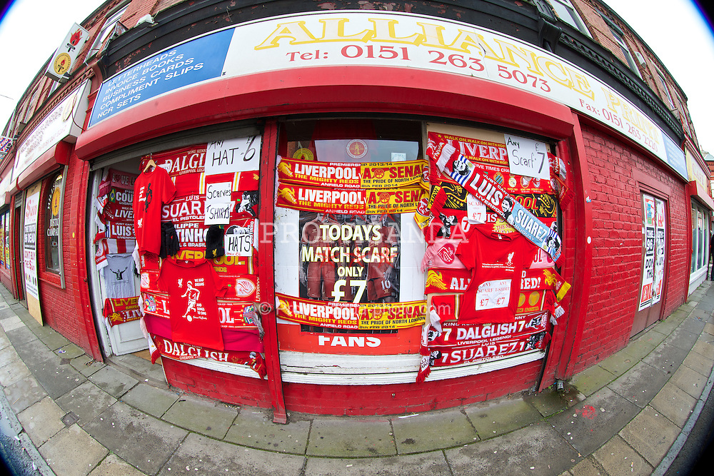 LIVERPOOL, ENGLAND - Saturday, February 8, 2014: Liverpool scarves on sale outside the ground before the Reds take on Arsenal during the Premiership match at Anfield. (Pic by David Rawcliffe/Propaganda)