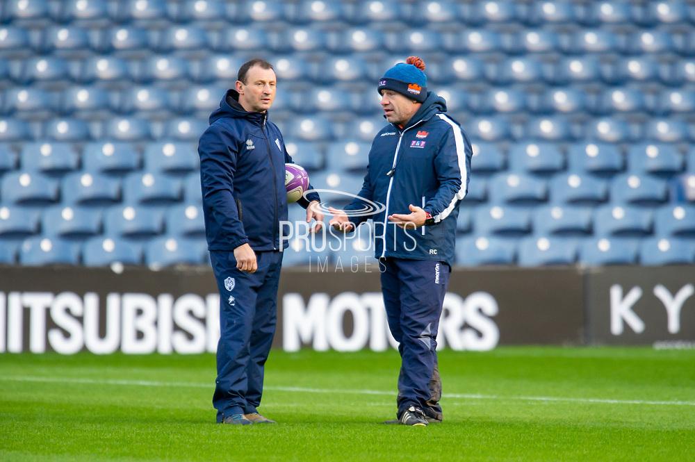 SU Agen head coach, Christophe Laussucq speaks with Edinburgh Rugby head coach, Richard Cockerill before the European Rugby Challenge Cup match between Edinburgh Rugby and SU Agen at BT Murrayfield, Edinburgh, Scotland on 18 January 2020.