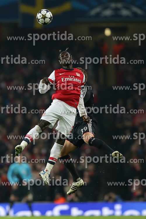 19.02.2013, Emirates Stadion, London, ENG, UEFA Champions League, FC Arsenal vs FC Bayern Muenchen, Achtelfinale Hinspiel, im Bild, Bacary SAGNA (FC Arsenal London - 3) - Toni KROOS (FC Bayern Muenchen - 39) Kopfballduell // during the UEFA Champions League last sixteen first leg match between Arsenal FC and FC Bayern Munich at the Emirates Stadium, London, Great Britain on 2013/02/19. EXPA Pictures © 2013, PhotoCredit: EXPA/ Eibner/ Gerry Schmit..***** ATTENTION - OUT OF GER *****