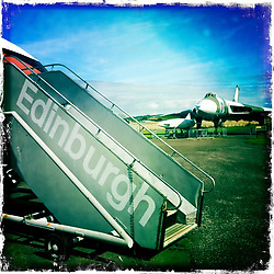 A Comet and a Vulcan aircraft at The National Museum of Flight, Scotland's national aviation museum at East Fortune Airfield, south of the village of East Fortune, in East Lothian..Hipstamatic images taken on an Apple iPhone..©Michael Schofield.