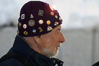 Gerhard, a volunteer with the Whistler Sliding Centre, sports a hat with many Olymic Pins. He was helping Whistler host the Viessmann Luge World Cup on Feb 20, 2009.