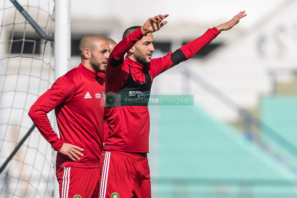 (L-R) Nordin Amrabat of Morocco, Karim El Ahmadi of Morocco, Hakim Ziyech of Morocco during a training session prior to the International friendly match between Morocco and Oezbekistan in Cassablanca on March 26, 2018, Morocco.