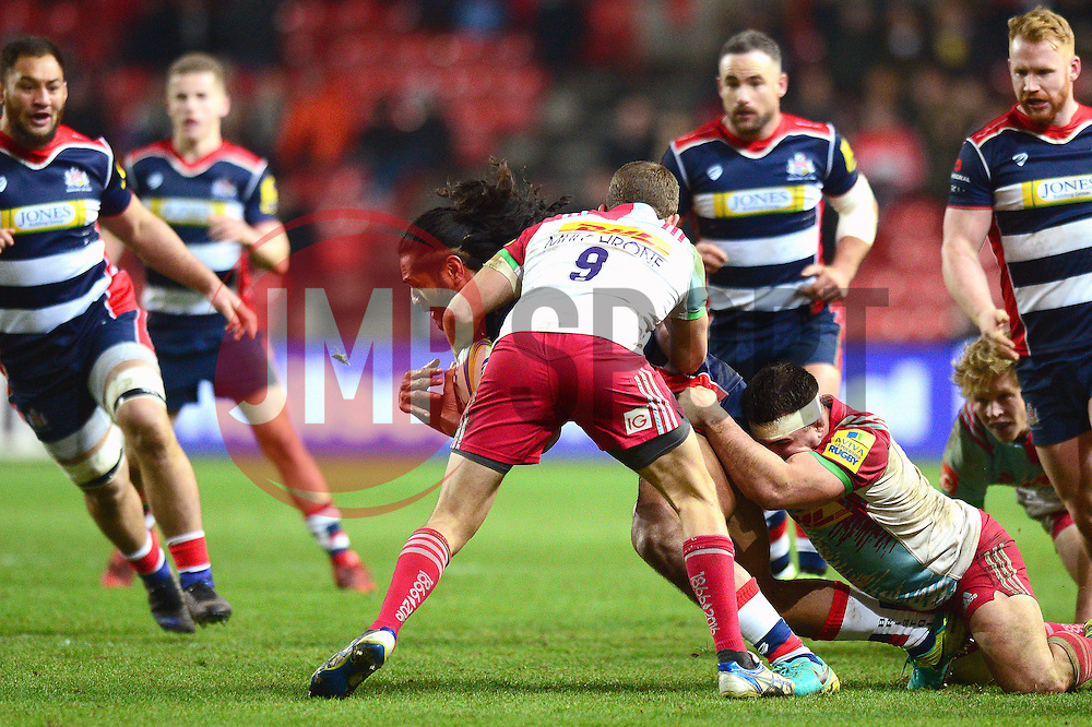 Thretton Palamo of Bristol Rugby is challenged  - Mandatory by-line: Dougie Allward/JMP - 10/02/2017 - RUGBY - Ashton Gate - Bristol, England - Bristol Rugby v Harlequins - Aviva Premiership
