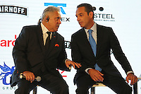 (L to R): Dr. Vijay Mallya (IND) Sahara Force India F1 Team Owner with Carlos Slim Domit (MEX) Chairman of America Movil.<br /> Sahara Force India F1 Team Livery Reveal, Soumaya Museum, Mexico City, Mexico. Wednesday 21st January 2015.