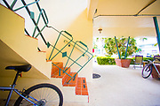 Miami Modern stair railings on a small apartment buiding in Miami Beach's Bay Harbor Islands