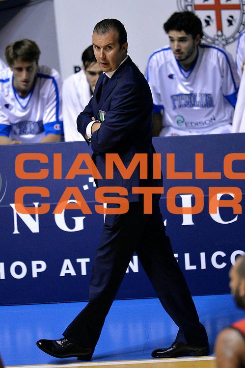 DESCRIZIONE : Cagliari Qualificazione Eurobasket 2015 Qualifying Round Eurobasket 2015 Italia Svizzera Italy Switzerland<br /> GIOCATORE : Simone Pianigiani<br /> CATEGORIA : Delusione<br /> EVENTO : Cagliari Qualificazione Eurobasket 2015 Qualifying Round Eurobasket 2015 Italia Svizzera Italy Switzerland<br /> GARA : Italia Svizzera Italy Switzerland<br /> DATA : 17/08/2014<br /> SPORT : Pallacanestro<br /> AUTORE : Agenzia Ciamillo-Castoria/Max.Ceretti<br /> Galleria: Fip Nazionali 2014<br /> Fotonotizia: Cagliari Qualificazione Eurobasket 2015 Qualifying Round Eurobasket 2015 Italia Svizzera Italy Switzerland<br /> Predefinita :