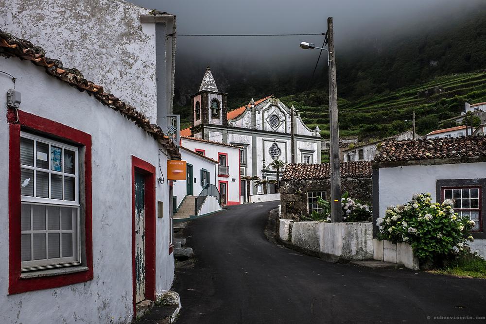 Fajãzinha village and church. Flores, Azores, Portugal