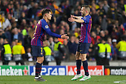 GOAL - 3-0 Barcelona midfielder Philippe Coutinho (7) celebrates with Barcelona defender Jordi Alba (18) during the Champions League quarter-final leg 2 of 2 match between Barcelona and Manchester United at Camp Nou, Barcelona, Spain on 16 April 2019.