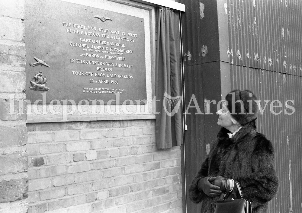 473-220<br /> Frau Glaeser-Koehl, widow of Capt. K&ouml;hl, at Casement Aerodrome unveiling a plaque to commemorate the flight of the Bremen on April 12th 1928. 12/4/73<br /> The first east-west non-stop transatlantic flight, in April 1928, flew from Baldonnel, Ireland to Greenly Island, Canada, in a Junkers W 33 monoplane, the &quot;Bremen&quot;. The crew of the Bremen were Capt. Herman K&ouml;hl, Col. James Fitzmaurice and Baron Gunther Von H&uuml;nefeld.<br /> (Part of the Independent Newspapers Ireland/NLI Collection)