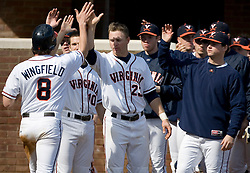 Virginia Cavaliers infielder Patrick Wingfield (8) is congratulated by his team after scoring against Delaware.  The Virginia Cavaliers Baseball Team defeated the Delaware Blue Hens 10-4  in the second of a three game series at Davenport Field in Charlottesville, VA on March 3, 2007.  Virginia leads the series 2 games to 0.