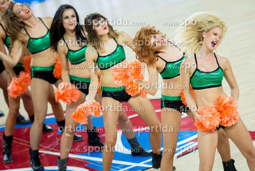 Cheerleaders perform during basketball match between Croatia and Slovenia at Day 1 in Group C of FIBA Europe Eurobasket 2015, on September 5, 2015, in Arena Zagreb, Croatia. Photo by Vid Ponikvar / Sportida