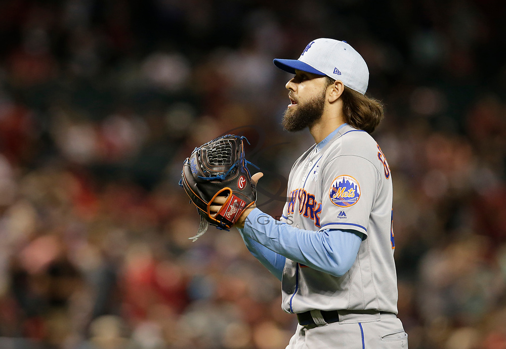 New York Mets relief pitcher Robert Gsellman (65) in the first inning during a baseball game against the Arizona Diamondbacks, Sunday, June 17, 2018, in Phoenix. (AP Photo/Rick Scuteri)