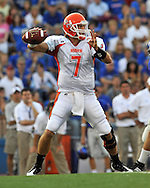 Sept 20, 2008; Lawrence, KS, USA; Sam Houston State Bearkats quarterback Rhett Bomar (7) throws the ball down field against the Kansas Jayhawks during the first quarter at Memorial Stadium.  The Kansas Jayhawks defeated the Sam Houston Bearkats 38-14.