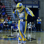 Chicago Sky Mascot Sky Guy seen dancing in the third period of a WNBA preseason basketball game between the Chicago Sky and the New York Liberty Friday, May. 22, 2015 at The Bob Carpenter Sports Convocation Center in Newark, DEL