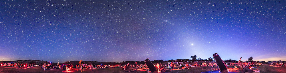 A 360&deg; panorama of the upper field of the Texas Star Party at the Prde Ranch near Fort Davis, TX, May 13, 2015, taken in deep twilight. The panorama shows the field of telescopes and observers getting ready for the night of deep-sky viewing and imaging. Venus is the bright object at right of centre and Jupiter is above it. The Zodiacal Light stretches up from the horizon and continues left across the sky in the Zodiacal Band to brighten in the east (left of centre) as the Gegeneschein.<br /> <br /> I shot this with a 14mm lens, oriented vertically, with each segment 40 seconds at f/2.8 and with the Canon 5D MkII at ISO 3200. The panorama is made of 8 segements at 45&deg; spacings. The segments were stitched with PTGui software.