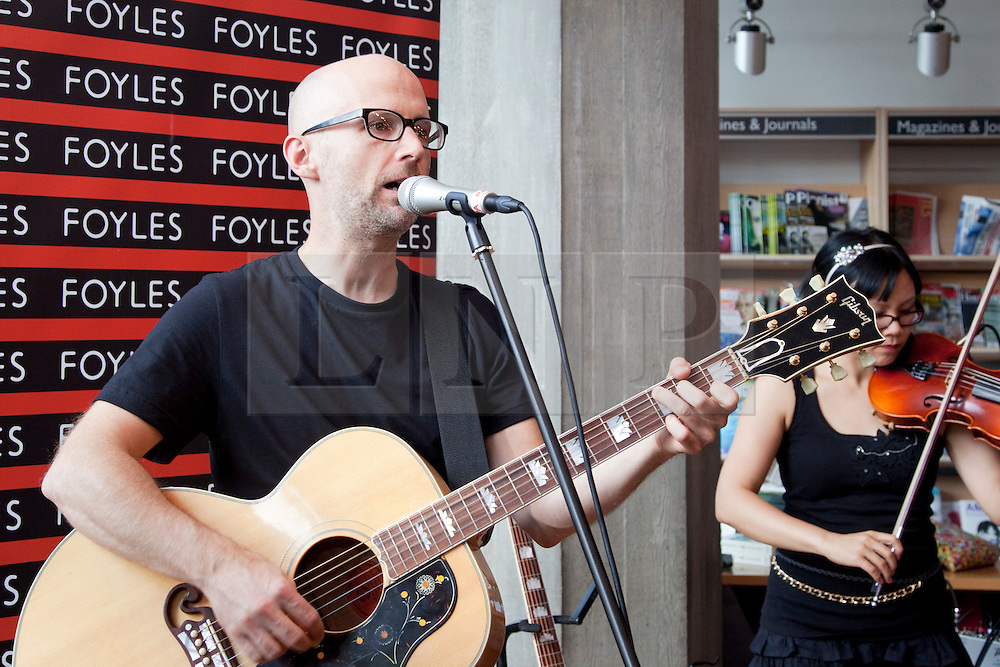 """© Licensed to London News Pictures. 01/08/2011. London, UK. Pop singer Moby promoted his new photography book """"Destroyed"""" at Foyles, Southbank Centre with a book signing and he also played some songs to his fans. Photo credit: Bettina Strenske/LNP"""