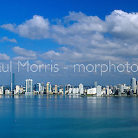 Panoramic image of downtown Miami from the Port of Miami along Brickell Avenue. This version is watermarked, contact us to license and clean version.
