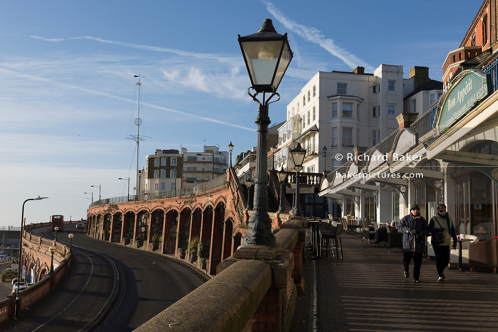 Ramsgate's Royal Parade, on 8th January 2019, in Ramsgate, Kent, England. The Port of Ramsgate has been identified as a 'Brexit Port' by the government of Prime Minister Theresa May, currently negotiating the UK's exit from the EU. Britain's Department of Transport has awarded to an unproven shipping company, Seaborne Freight, to provide run roll-on roll-off ferry services to the road haulage industry between Ostend and the Kent port - in the event of more likely No Deal Brexit. In the EU referendum of 2016, people in Kent voted strongly in favour of leaving the European Union with 59% voting to leave and 41% to remain.
