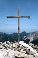 Liechtenstein  Malbun  June 2008.Small town high in the Alpine (southeastern)..Fürstin-Gina-Weg' (Princess Gina memorial trail)..The cross on top of the Augstenberg (2359 m)...