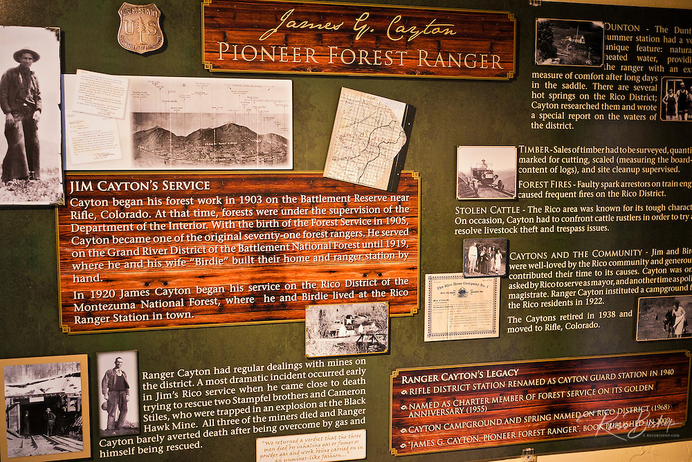 Pioneer forest rangerdisplay in the Rico Museum, Rico, Colorado