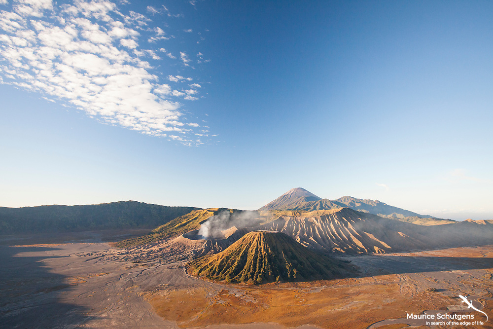 Mount Bromo at sunrise on the island of Java.