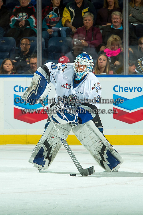 KELOWNA, CANADA - OCTOBER 4: Griffen Outhouse #30 of the Victoria Royals  passes the puck against the Kelowna Rockets on October 4, 2017 at Prospera Place in Kelowna, British Columbia, Canada.  (Photo by Marissa Baecker/Shoot the Breeze)  *** Local Caption ***