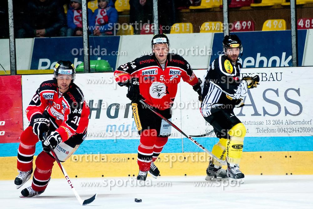20.12.2013, Hostan Arena, Zneim, CZE, EBEL, HC Orli Znojmo vs Dornbirner EC, 55. Runde, im Bild Jiri Beroun (HC Orli Znojmo #30) Jan Seda (HC Orli Znojmo #51) // Jiri Beroun (HC Orli Znojmo #30) Jan Seda (HC Orli Znojmo #51) during the Erste Bank Icehockey League 55th round match between HC Orli Znojmo and Dornbirner EC at the Hostan Arena in Zneim, Czech Republic on 2013/12/20. EXPA Pictures © 2013, PhotoCredit: EXPA/ Rostislav Pfeffer
