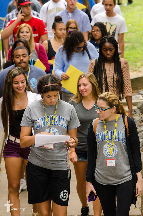 Students head to orientation activities at Concordia College New York on Saturday, July 19, 2014, in Bronxville, NY. LCMS Communications/Erik M. Lunsford