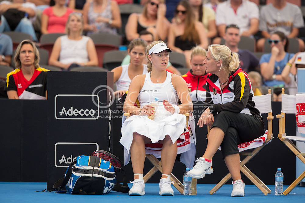 Angelique Kerber (GER) And Barbara Rittner (GER), April 20, 2014 - TENNIS : Fed Cup, Semi-Final, Australia v Germany. Pat Rafter Arena, Brisbane, Queensland, Australia. Credit: Lucas Wroe