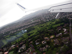 Photographs onboard an early morning Ryanair flight on it's approach over Edinburgh, on the way to land at Edinburgh airport, a day after the latest Iceland volcano dust scare.