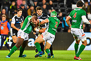 Alun Wyn Jones of Ospreys is tackled by Luca Bigi of Benetton Treviso<br /> <br /> Photographer Craig Thomas/Replay Images<br /> <br /> Guinness PRO14 Round 4 - Ospreys v Benetton Treviso - Saturday 22nd September 2018 - Liberty Stadium - Swansea<br /> <br /> World Copyright &copy; Replay Images . All rights reserved. info@replayimages.co.uk - http://replayimages.co.uk