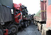 ZHUMADIAN, CHINA - JUNE 04: (CHINA OUT) <br /> <br /> Nine Dead In Henan Highway Pileups, china<br /> Rescuers work at a traffic accident site at the Zhumadian section of Jing-Gang-Ao highway on June 4, 2013 in Zhumadian, Henan Province of China. At least nine people were killed in 16 accidents caused by heavy fog on several sections of the highway on Tuesday. The accidents involved 56 vehicles and trapped 95 people in vehicles.  ©ChinaFoto/Exclusivepix
