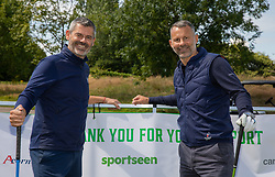 CARDIFF, WALES - Tuesday, August 13, 2019: Chris Jones and Ryan Giggs with sponsor branding during the Football Association of Wales' Golf Day at the Vale Resort. (Pic by Mark Hawkins/Propaganda)