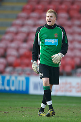 BLACKPOOL, ENGLAND - Wednesday, March 3, 2011: Blackpool's goalkeeper Mark Halstead in action against Liverpool during the FA Premiership Reserves League (Northern Division) match at Bloomfield Road. (Photo by David Rawcliffe/Propaganda)