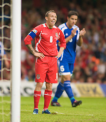 CARDIFF, WALES - Saturday, October 11, 2008: Wales' captain Craig Bellamy rues a missed chance against Liechtenstein during the 2010 FIFA World Cup South Africa Qualifying Group 4 match at the Millennium Stadium. (Photo by Gareth Davies/Propaganda)