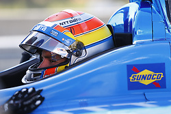 April 21, 2018 - Birmingham, Alabama, United States of America - ED JONES (10) of the United Arab  Emirates gets suited up and strapped into his machine to take to the track for final practice for the Honda Grand Prix of Alabama at Barber Motorsports Park in Birmingham, Alabama. (Credit Image: © Justin R. Noe Asp Inc/ASP via ZUMA Wire)