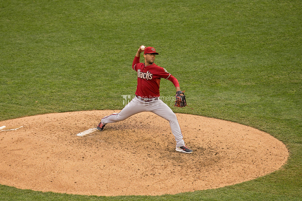 MINNEAPOLIS, MN- SEPTEMBER 24: Randall Delgado #48 of the Arizona Diamondbacks pitches against the Minnesota Twins on September 24, 2014 at Target Field in Minneapolis, Minnesota. The Twins defeated the Diamondbacks 2-1. (Photo by Brace Hemmelgarn) *** Local Caption *** Randall Delgado