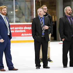 TRENTON, ON  - MAY 5,  2017: Canadian Junior Hockey League, Central Canadian Jr. &quot;A&quot; Championship. The Dudley Hewitt Cup. Game 7 between The Georgetown Raiders and The Powassan Voodoos. Powassan Voodoos Coaching staff <br /> (Photo by Amy Deroche / OJHL Images)