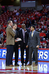 10 December 2016:  Dan Muller, Head Coach, Luke Yaklich, Brian Reece and Dean Oliver during an NCAA  mens basketball game between the UT Martin Skyhawks and the Illinois State Redbirds in a non-conference game at Redbird Arena, Normal IL