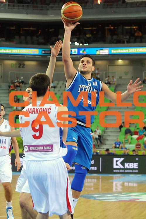 DESCRIZIONE : Lubiana Ljubliana Slovenia Eurobasket Men 2013 Finale Settimo Ottavo Posto Serbia Italia Final for 7th to 8th place Serbia Italy<br /> GIOCATORE : Alessandro Gentile<br /> CATEGORIA : Tiro<br /> SQUADRA : Italia Italy<br /> EVENTO : Eurobasket Men 2013<br /> GARA : Serbia Italia Serbia Italy<br /> DATA : 21/09/2013 <br /> SPORT : Pallacanestro <br /> AUTORE : Agenzia Ciamillo-Castoria/Max.Ceretti<br /> Galleria : Eurobasket Men 2013<br /> Fotonotizia : Lubiana Ljubliana Slovenia Eurobasket Men 2013 Finale Settimo Ottavo Posto Serbia Italia Final for 7th to 8th place Serbia Italy<br /> Predefinita :