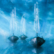Peaceful painterly rendition of three sailboats against a blue sky reflecting in the water below