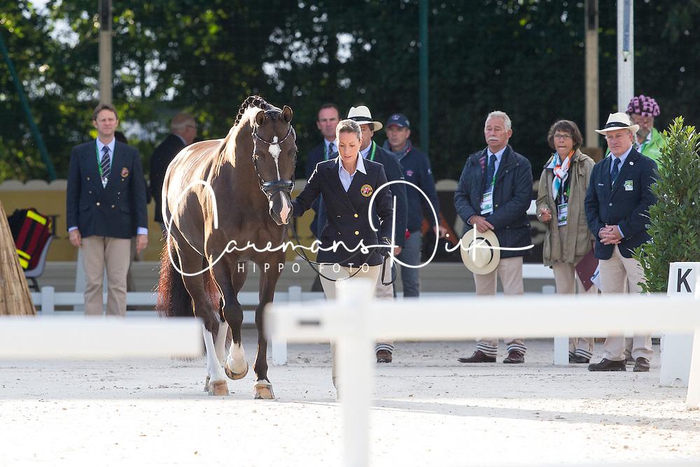 Charlotte Dujardin, (GBR), Valegro - Horse Inspection Dressage - Alltech FEI World Equestrian Games&trade; 2014 - Normandy, France.<br /> &copy; Hippo Foto Team - Leanjo de Koster<br /> 25/06/14