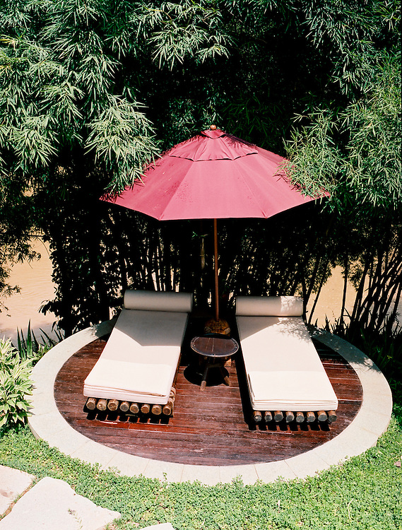 Day beds at the Four Seasons Golden Triangle resort