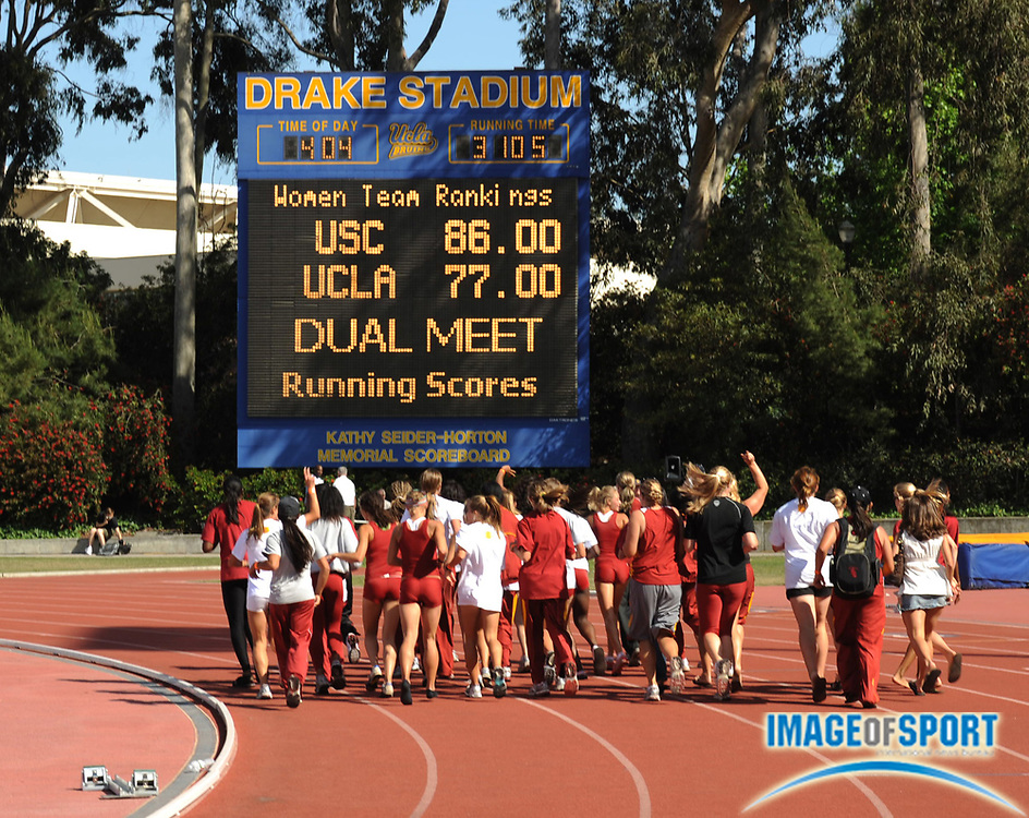 May 3, 2008; Los Angeles, CA, USA: The Southern California women take a victory lap after 86-77 dual meet victory over UCLA for its first victory over the crosstown rivals since 1992 at Drake Stadium.